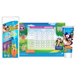 Zestaw Szczoteczka soniczna Kidz Sonic 3-6 Niebieska oraz pasta do zębów 3-6 + Kalendarz