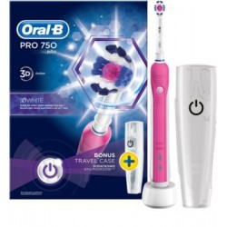 Braun Oral B PRO 750 Pink 3 D White- Różowa szczoteczka elektryczna - Edycja Limitowana