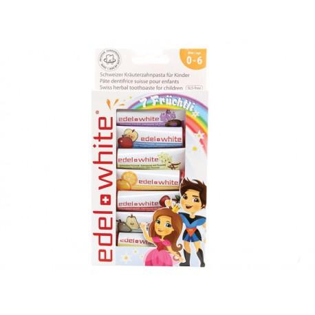 7 Früchtli - pasta do zębów dla dzieci, Edel+ White 7x 9,3 ml.