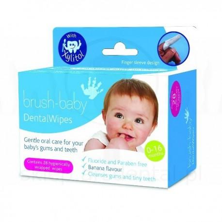 BRUSH-BABY - chusteczki z Xylitolem do czyszczenia dziąseł i zębów mlecznych 0-16mc-y